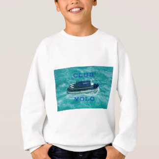 """CLUB YOLO"" Blue Adventure Boat in Swirling Water Sweatshirt"