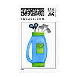 Clubs de golf azules y sellos verdes