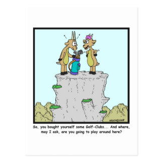 Clubs de golf: Dibujo animado de la cabra de Postal