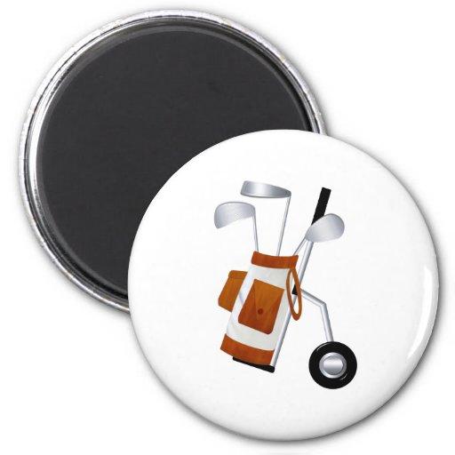 Clubs de golf y bolso imán de frigorifico