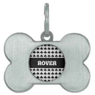 Clubs playing cards suit pattern pet name tag