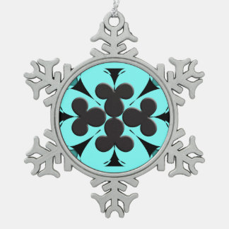 Clubs Snowflake Pewter Christmas Ornament