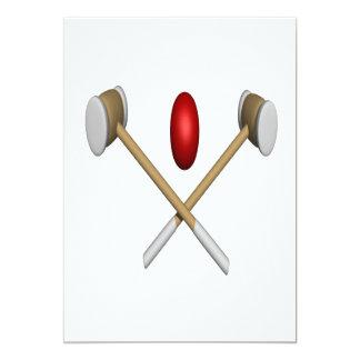 """Clubs y bola del croquet invitación 5"""" x 7"""""""