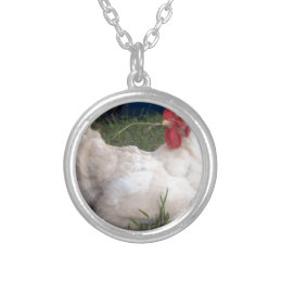 Cluck the white Chicken Silver Plated Necklace