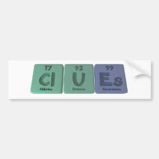 Clues-Cl-U-Es-Chlorine-Uranium-Einsteinium.png Pegatina Para Auto