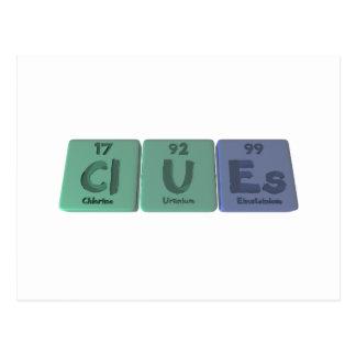 Clues-Cl-U-Es-Chlorine-Uranium-Einsteinium.png Postcard