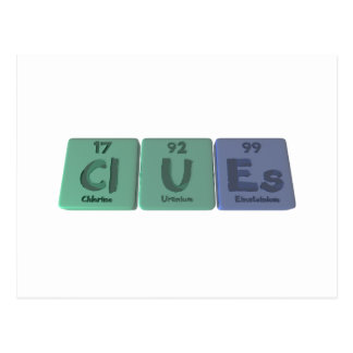 Clues-Cl-U-Es-Chlorine-Uranium-Einsteinium.png Tarjetas Postales