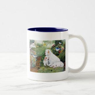 Clumber Puppies in the Garden Coffee Mug