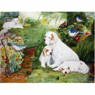 Clumber Puppies in the Garden Statuette