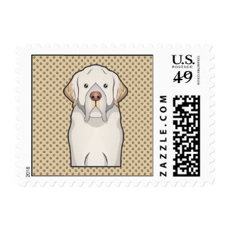 Clumber Spaniel Cartoon Stamp