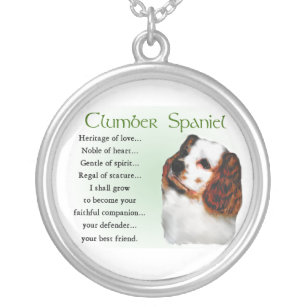 Clumber Spaniel Heritage of Love Silver Plated Necklace