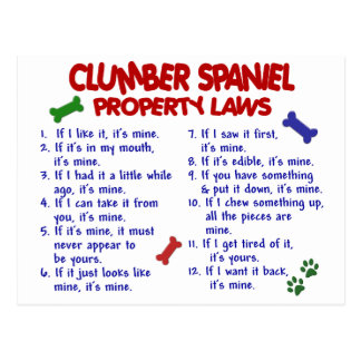 CLUMBER SPANIEL Property Laws 2 Post Cards