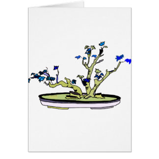 Clump Bonsai Blue Leaves Graphic Design Image Card