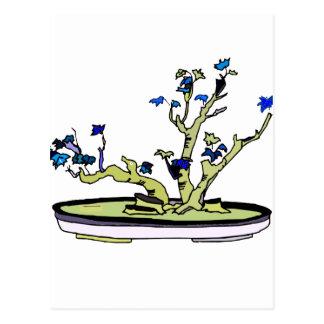 Clump Bonsai Blue Leaves Graphic Design Image Postcard