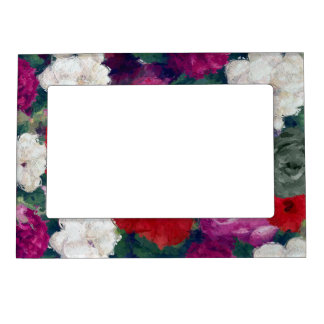Cluster Of Abstract Flowers Magnetic Photo Frame
