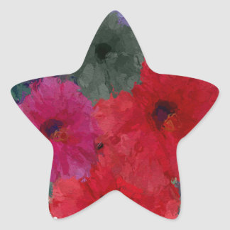 Cluster Of Abstract Flowers Star Sticker