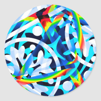 Cluster of colorful Abstract shapes Classic Round Sticker