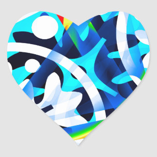 Cluster of colorful Abstract shapes Heart Sticker
