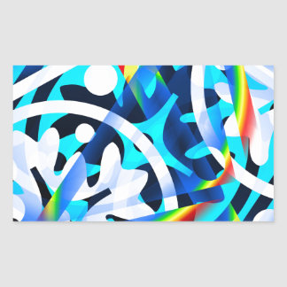 Cluster of colorful Abstract shapes Rectangular Sticker