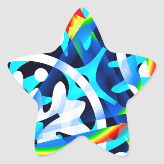 Cluster of colorful Abstract shapes Star Sticker