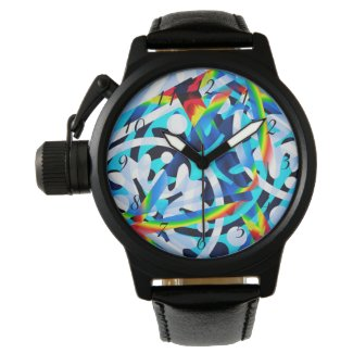 Cluster of Colorful Abstract Shapes Wrist Watch