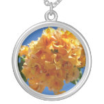 Cluster of Golden Bougainvillea Silver Plated Necklace