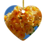 Cluster of Golden Bougainvillea Tropical Flowers Ceramic Heart Ornament