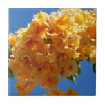 Cluster of Golden Bougainvillea Tropical Flowers Small Square Tile