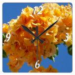 Cluster of Golden Bougainvillea Wall Clock