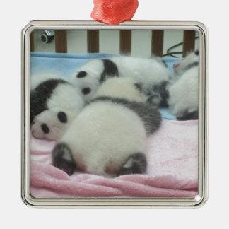 Cluster Of Panda Cubs Metal Ornament
