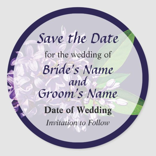 Cluster of Purple Lilacs Save the Date Classic Round Sticker