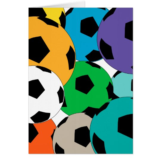 cluster of soccer balls card