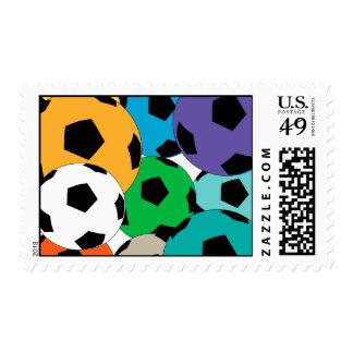 cluster of soccer balls stamp