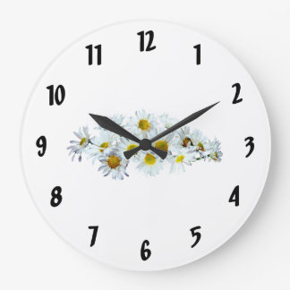 Cluster of White Daisies Wall Clocks