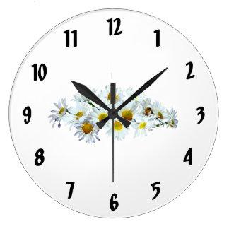 Cluster of White Daisies Clocks