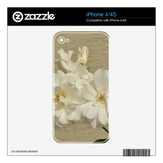 Cluster of White Roses Decal For iPhone 4