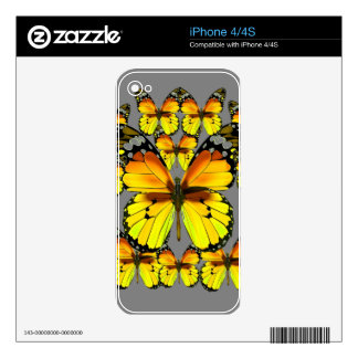 CLUSTERED YELLOW-BROWN  BUTTERFLIES GREY iPhone 4 SKIN