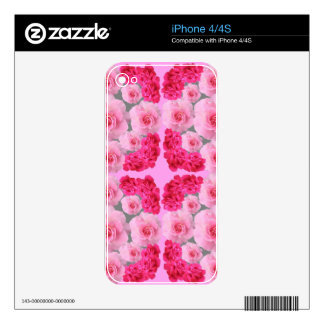 CLUSTERS OF PINK & RED ROSES GIFTS DECAL FOR iPhone 4S