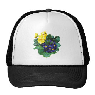 Clusters of Purple and Yellow Primroses Mesh Hats
