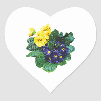 Clusters of Purple and Yellow Primroses Heart Stickers