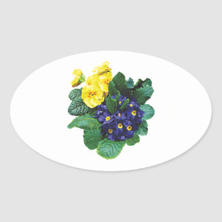 Clusters of Purple and Yellow Primroses Stickers