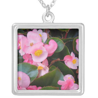 Clusters of Varying Shades of Pink Begonias Square Pendant Necklace