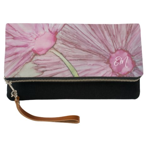 Clutch Fold-Over Two Pink Fluffy Flowers