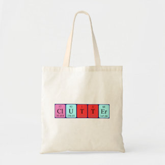 Clutter periodic table word tote bag