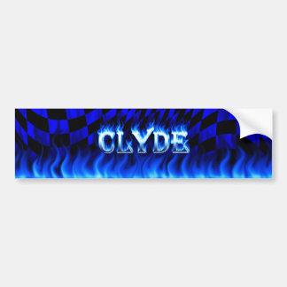 Clyde blue fire and flames bumper sticker design.