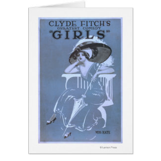 """Clyde Fitch's Greatest Comedy, """"Girls"""" Theatre Greeting Cards"""