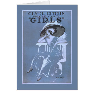 """Clyde Fitch's Greatest Comedy, """"Girls"""" Theatre Card"""