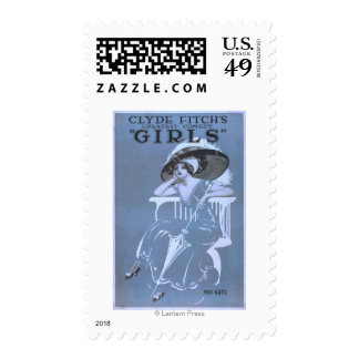 """Clyde Fitch's Greatest Comedy, """"Girls"""" Theatre Stamp"""