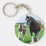 Clydesdale and Filly Basic Round Button Keychain
