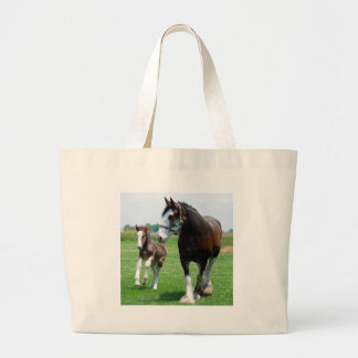 Clydesdale and Filly Large Tote Bag